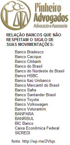 RELAÇÃO BANCOS NAO RESPEITAM SIGILO PINHEIRO ADVOGADOS